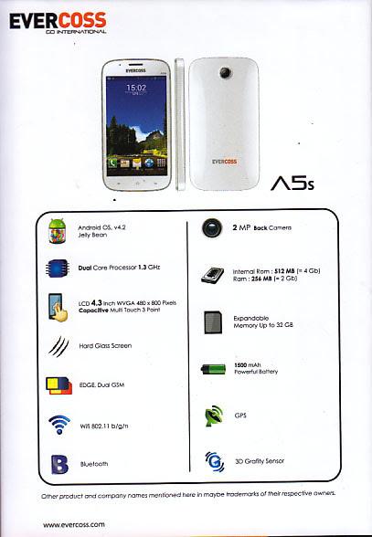 Spesifikasi Evercoss A5S